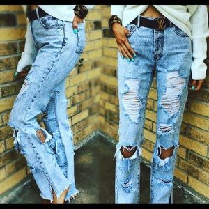 Distressed retro high rise jeans
